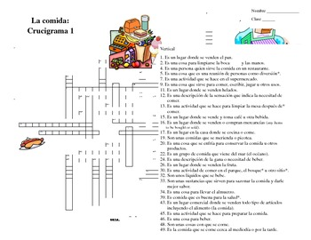 Spanish Food and Dining Crossword Puzzle- Crucigrama