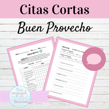 Spanish Food and Eating Habits Citas Cortas Speaking Activity
