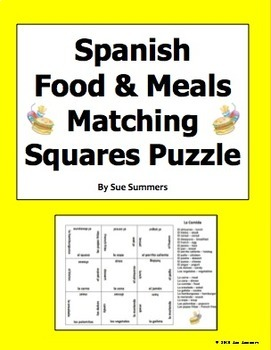 Spanish Food and Meals Matching Squares Puzzle - La Comida