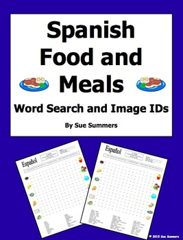 Spanish Food and Meals Word Search Puzzle, Vocabulary, and