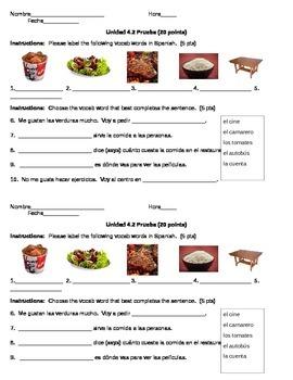 Spanish Food and Stem Changers Quiz