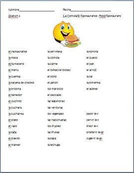 Spanish - Food/Restaurant Vocabulary