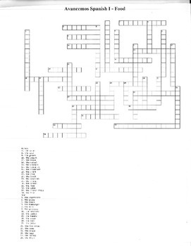 Spanish Foods Crossword Puzzle