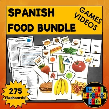 Spanish Food Lessons, Flashcards, Activities, Games