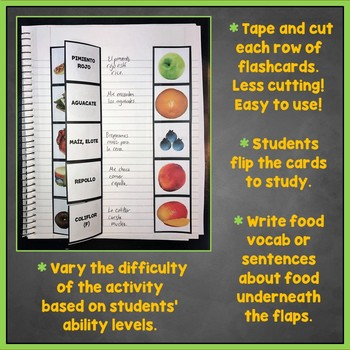 Spanish Foods Flashcards, Fruit, Vegetables, Drinks Interactive Notebook, Comida