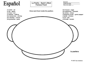 Spanish Foods Paella Sketch and Label Activity