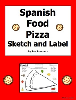 Spanish Foods Pizza Sketch and Label Activity - La Comida