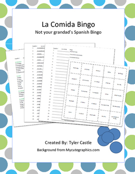 Spanish Foods Vocabulary Bingo Game