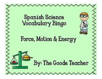 Spanish Force, Motion & Energy Bingo