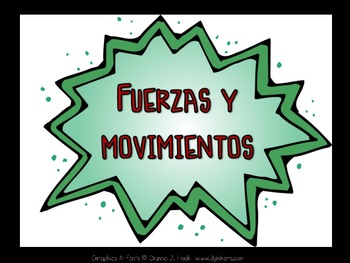 Spanish Forces and Motions Vocabulary (Fuerzas y movimientos)