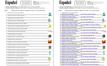 Spanish Formal Commands - 20 Uds. Sentence Translations with Adverbs