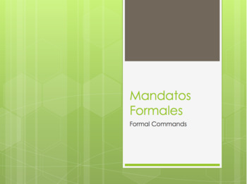 Spanish Formal Commands Notes