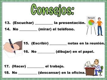 Spanish Formal Commands Practice EN LA OFICINA