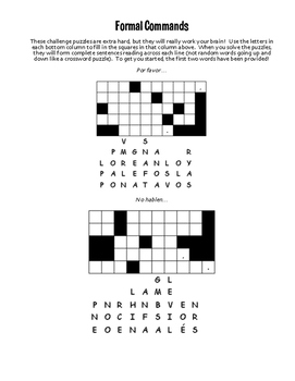 Spanish Formal Commands Puzzle Pack