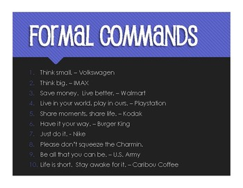 Spanish Formal Commands Slogans and Jingles