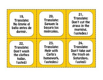 Spanish Formal Commands Task Cards