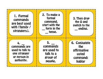 Spanish Formal Commands Task Cards