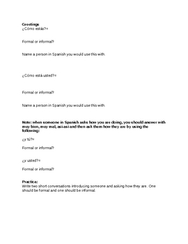 Spanish Formal and informal greetings guided notes