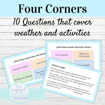 Spanish Four Corners Activity for Weather and Activities