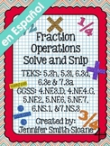 Spanish Fraction Operations Solve and Snip