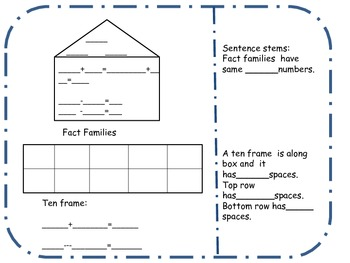 Fact families and Ten Frame
