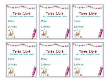Spanish Free Homework Passes - Tarea Libre Cupones