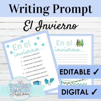 Spanish Free Winter Writing Prompt