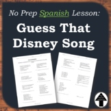 Spanish Friday Fun Day or Easy Substitute Plan Disney Song Translation Activity