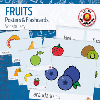 Spanish  Fruit Flashcards and Posters - Tarjetas y posters frutas en español