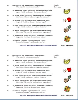 Spanish Fruit & Gustar Interview Skit - Food / Comida Oral Activity
