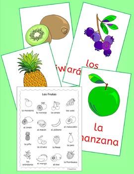 Spanish Fruit Vocabulary - Las Frutas - handouts, games, activities