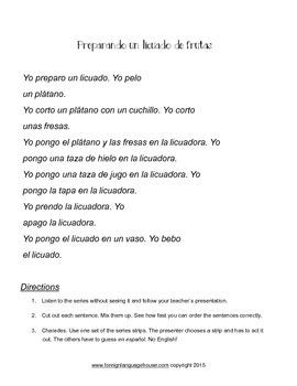 Spanish Fruit: Making a Fruit Smoothie or Un Licuado