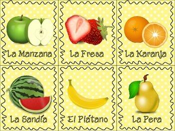 Spanish Fruit & Vegetables Flash Cards