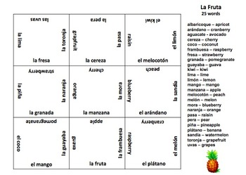 Spanish Fruit Vocabulary 3 x 3 Matching Squares Puzzle