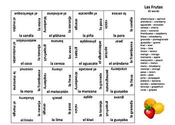 Spanish Fruit Vocabulary 4 x 4 Matching Squares Puzzle