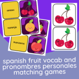 Spanish Fruit Vocabulary + Pronombres Personales Matching Games!