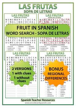 Spanish Fruit Word Search - Las Frutas