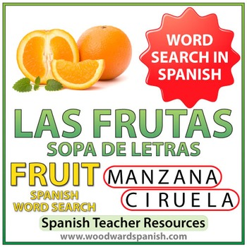 Spanish Fruit Word Search - Las Frutas
