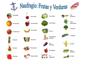 Spanish Fruit and Vegetable Speaking/Writing  Activity (Naufragio)