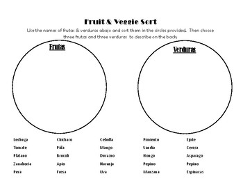 Spanish Fruit and Vegetable Vocabulary Sort