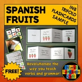 Spanish Fruits Flashcards, Interactive Notebook Trifold Flashcards Sample