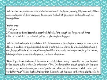 Spanish Fruits & Vegetables Vocabulary ¡Pesca! (Go Fish) Game