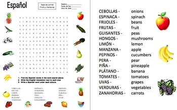 Spanish Fruits and Vegetables Word Search and Picture IDs Worksheet
