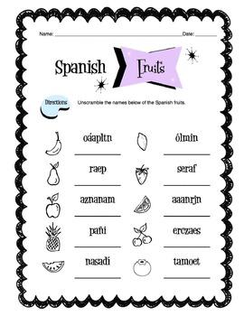 Spanish Fruits Worksheet Packet