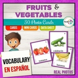 Spanish Fruits and Vegetables Flashcards for Speech Therapy and Autism