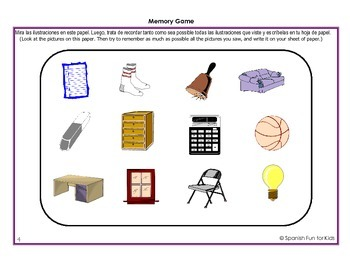 Spanish Fun Activity Sheets for Flash Cards Set 1