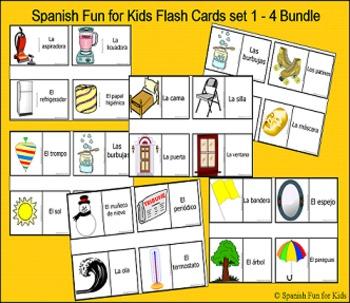 Spanish Fun for Kids Flash Cards 1 - 4 Bundle