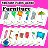 Spanish Furniture Flash Cards. Bath, book, camera, flowers