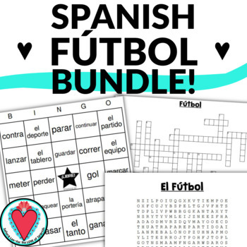 Spanish Soccer Bundle - Crossword, Word Search, Bingo, PowerPoint