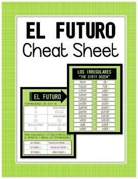 Spanish Future Tense Cheat / Reference Sheet